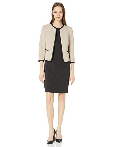 Le Suit Women's Jacquard Piped Open Front Jacket and Dress