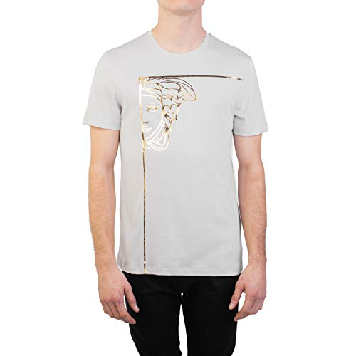 Versace Collection Men's Cotton Angular Medusa Graphic T-Shirt Gray