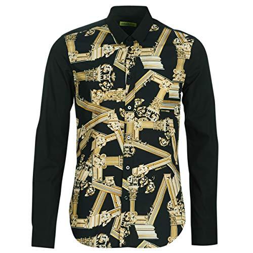 Versace Jeans Cotton Pop All Over Logo Black Shirt 48 Black