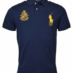 Men's Custom Slim Fit Mesh Short Sleeve Big Pony Polo Shirt