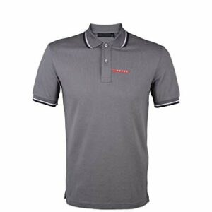 Prada Men's Cotton Piqué Short Sleeve Slim Fit Polo Shirt, Charcoal Grey SJJ887
