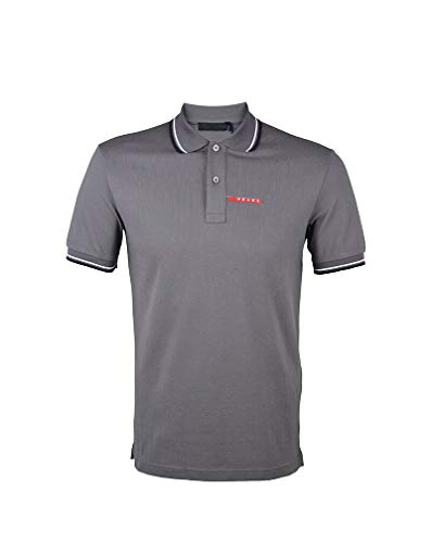 Prada Men's Cotton Piqué Short Sleeve Slim Fit Polo Shirt, Charcoal Grey SJJ887