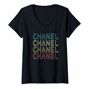 Womens Vintage Retro Birthday Party Gift For Who Has Name Chanel V-Neck T-Shirt