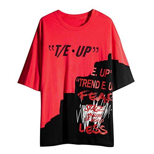 Unisex Women Men Casual Letter Print Crewneck Graphic T-Shirt Short Sleeve Tunic Tops Blouse Hip-Hop LIM&Shop