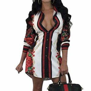 Remelon Womens Floral Print Button Down Collar Long Shirt Dress Blouse Mini Dress
