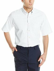 Red Kap Men's Executive Oxford Dress Shirt, Short Sleeve, White, X-Large/Tall