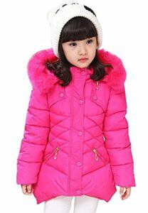 DNggAND Child Kids Girls Winter Warm Jackets Snowsuit Hooded Windbreaker Outwear with Soft Fur Hoodies for 3-12 Years Old
