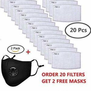 La Volupte 20Pcs PM2.5 Activated Carbon Filter Breathing for Mask