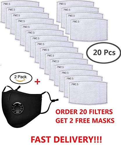 La Volupte 20Pcs PM2.5 Activated Carbon Filter Breathing for Mask