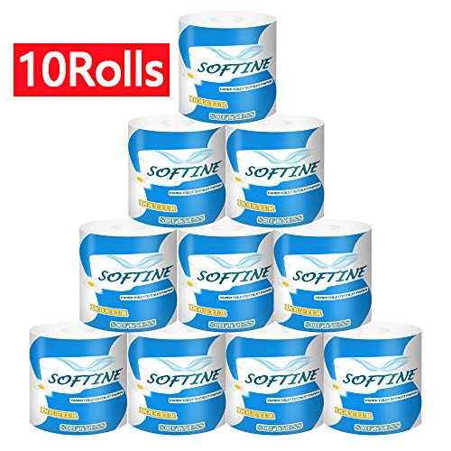 Professional Premium 3-Ply Toilet Paper, Highly Absorbent Hand Towels White Tissue for The Washroom, Home Kitchen or Restaurant (10 Rolls)