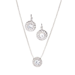 "Rosalind ""Pretty"" Necklace & Earring Set 18K White Gold Plated"