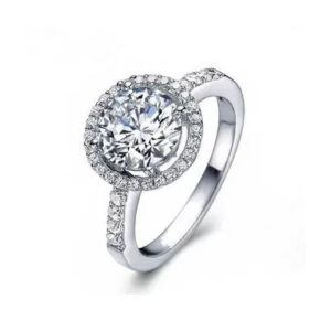 White Gold Halo Round Cut Cubic Zirconia Ring