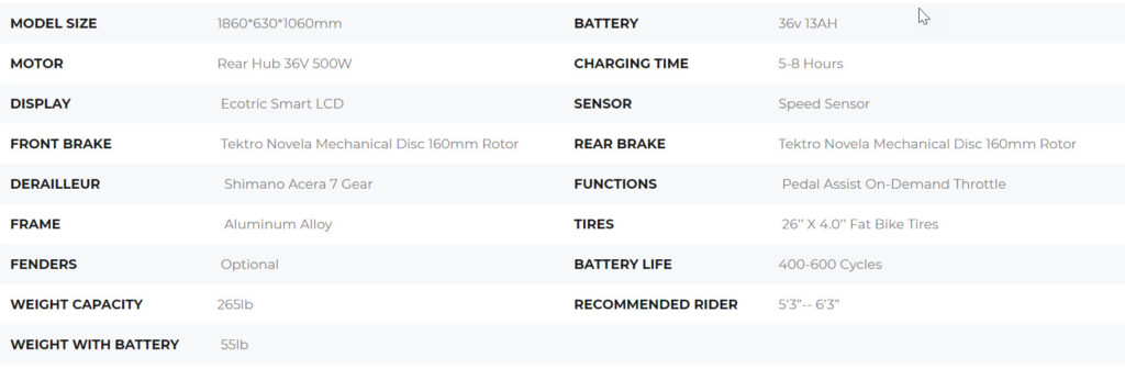 e-bike specification