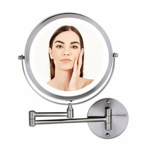 Ovente Wall Mounted Vanity Makeup Mirror 8.5 Inch with 10X Magnification and LED Light, 360 Degree Swivel Rotation with Distortion Free View