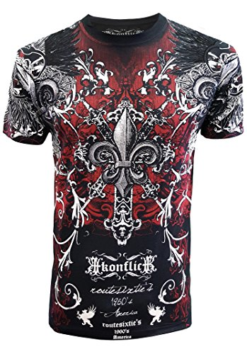Konflic Men's Original Design Crew Neck MMA Muscle T-Shirt